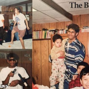 Montage of Jeff Harry as a young child in his basement having fun