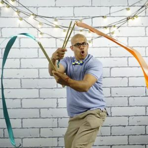 Jeff Harry play coach playing with ribbons