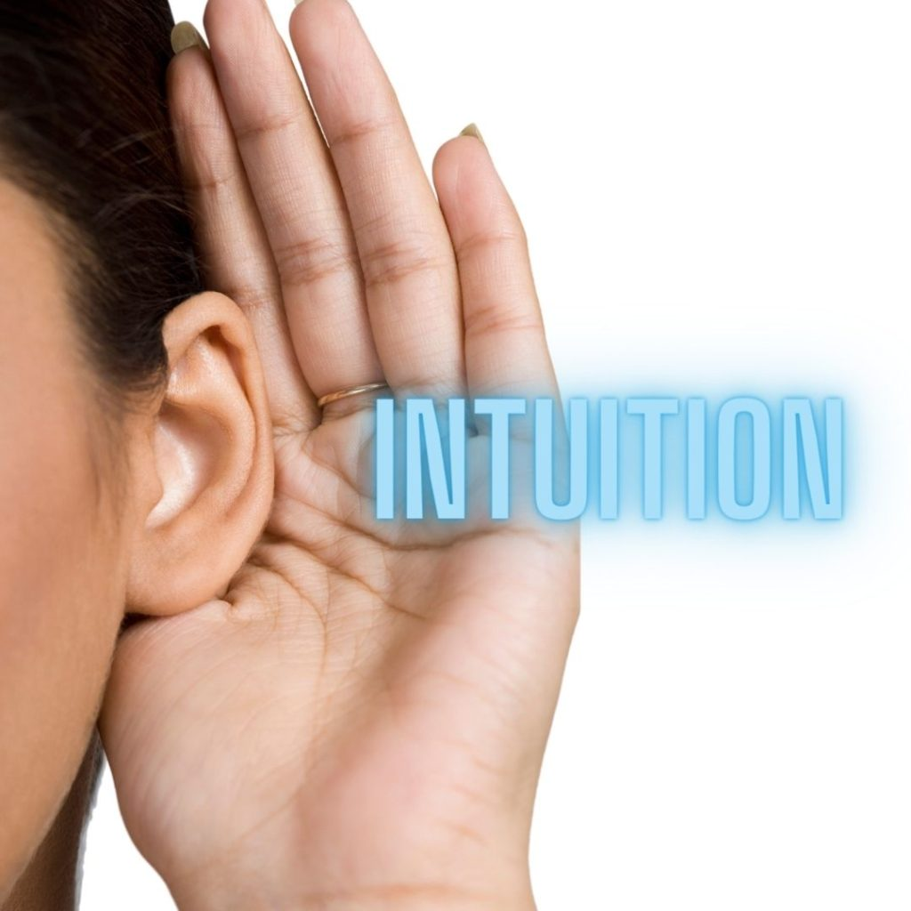 The word Intuition going into an ear