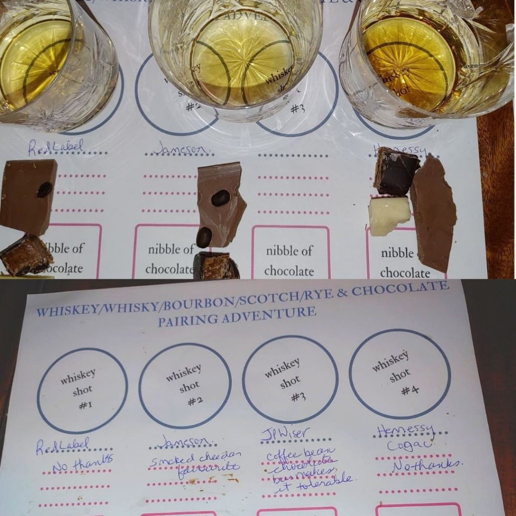 Becky's set up for whiskey and chocolate pairing