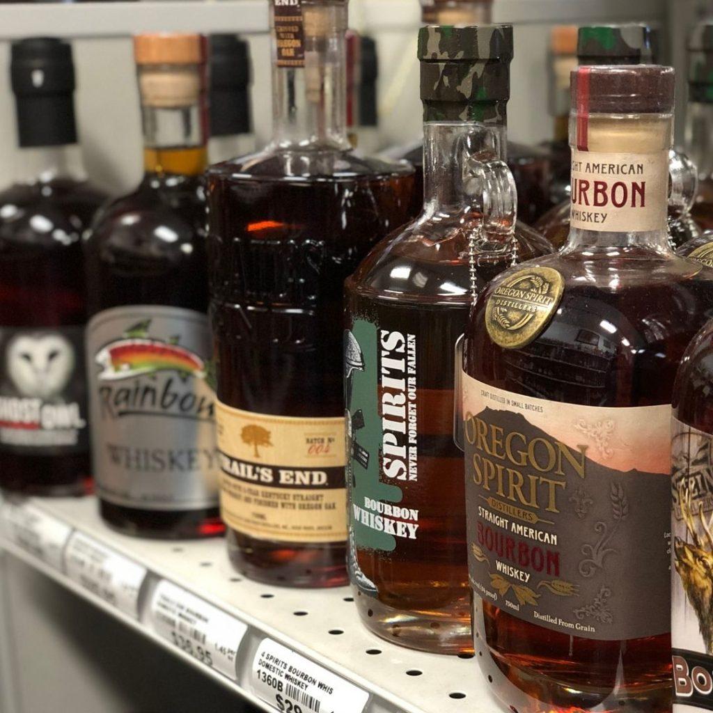 Row of Oregon bottles of whiskey