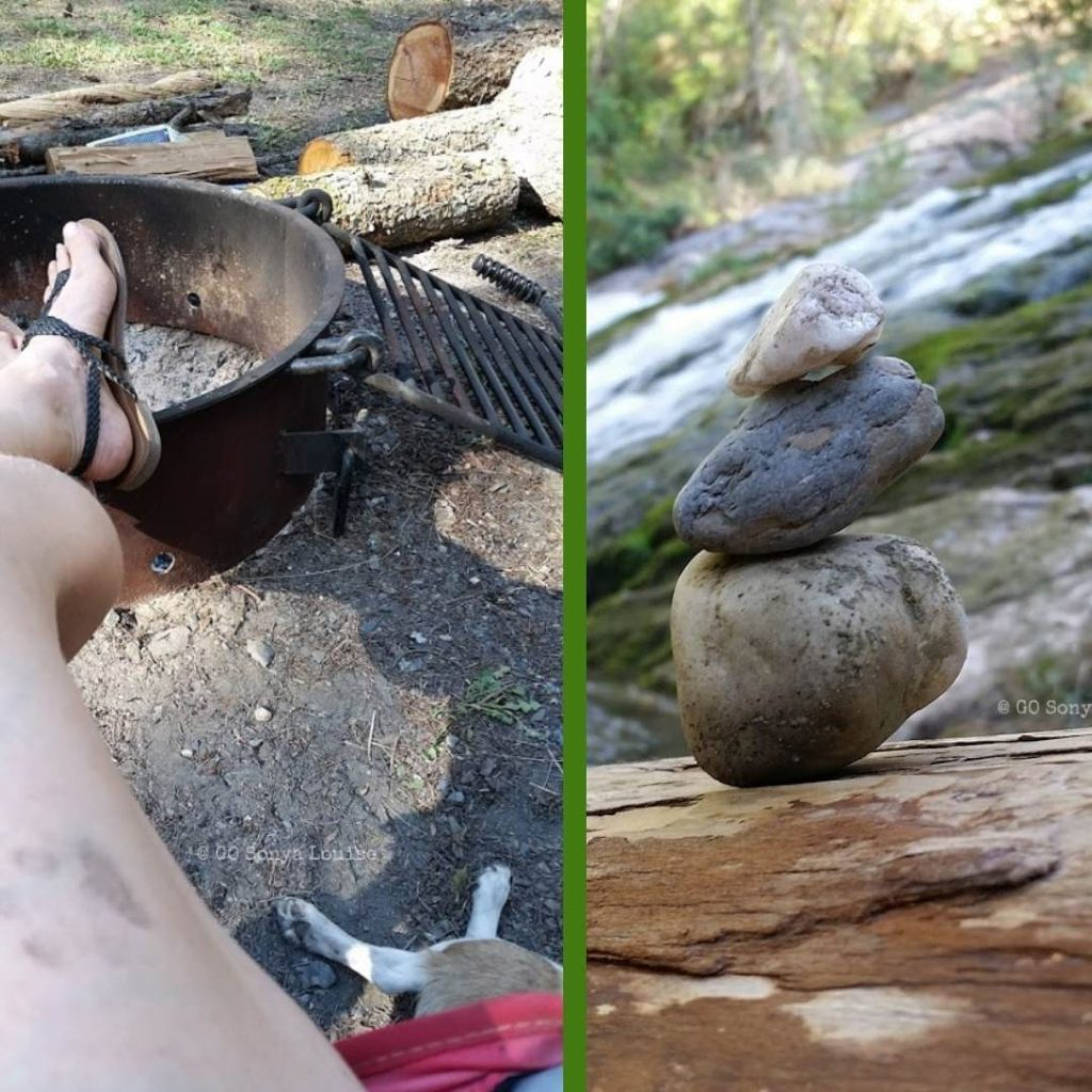 Sonya Louise by campfire and a cairn she made while solo camping