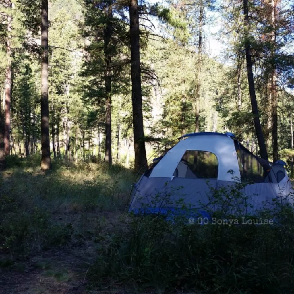 Sonya Louise's solo camping tent in the woods