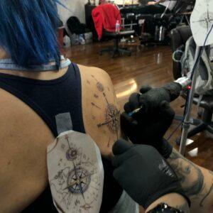 compass tattoo in progress